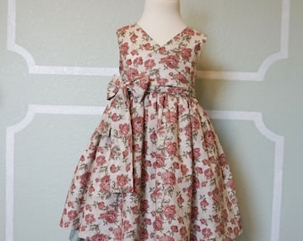 Girl's Vintage Style Crossover Bodice Easter Dress sz 4