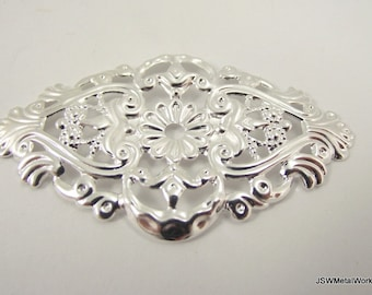 Silver Plated Filigree Focal, 59x35mm, 6 Pieces