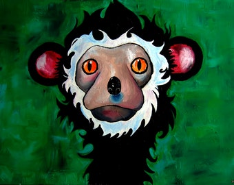 Monkey Business(Original Painting); acrylic on canvas, large, pop art. Animal lovers gift idea. Colorful, bright, wildlife in zoo & jungle