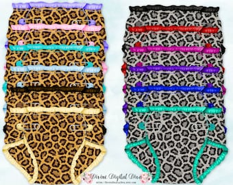 Leopard Baby Diaper Decoration Tags | 6 Solid 6 Pattern | Clipart Digital Instant Download