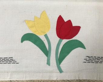 Vintage Tulip Tea/Kitchen Towel Applique Bright Red & Yellow Tulips Sweet Kitchen Decor!