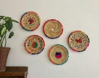 Woven boho trivets--wall decor