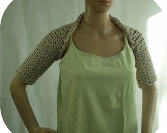 Handknitted Sand Cotton/Polyester Ribbon Shrug