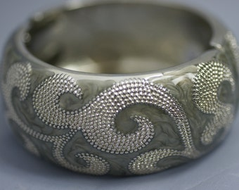 Gray and Silver Clamp Bracelet