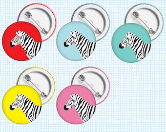 Zebra • Button Badge, 38mm, assorted colours available