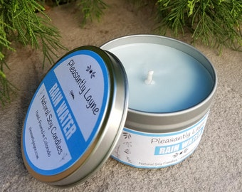 Rain Water Scented Natural Soy Candle - Hand Poured 8 oz Travel Tin