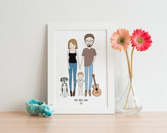 Custom Family Portrait, Custom family illustration, Christmas gift, Custom couple portrait, personlized gift, mothers day gift, fathers day