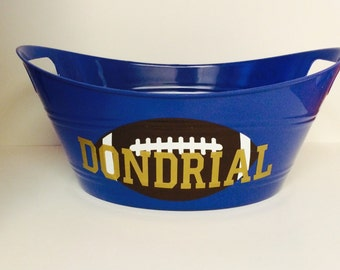 Personalized Football Tubs, Personalized gift baskets, Childrens gift baskets, Personalized party favors, sports storage bin, name bucket,