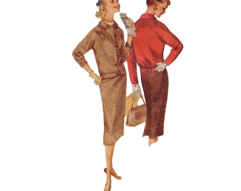 50s Pencil Skirt pattern Cropped Jacket pattern vintage pattern 34-26-36 Skirt Suit pattern Ricky Jacket pattern Simplicity 1719