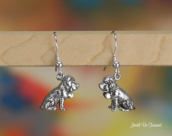Sitting Saint Bernard Earrings Sterling Silver Pierced Earwires .925
