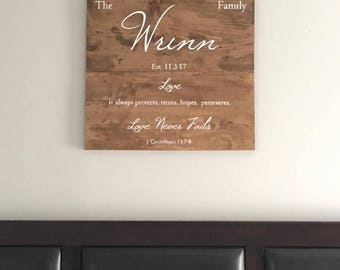 Personalized Last Name Semi Custom Wood Sign. Love Never Fails.
