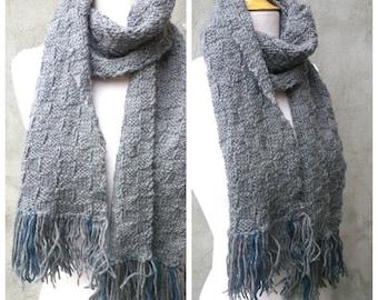 Grey knit men's scarf, knit men's scarf, grey scarf, men's scarf, men's knit scarf, knit scarf for men, knit grey scarf, checkered scarf
