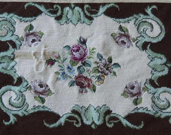 Vintage Floral Needlepoint / Unfinished Floral Needlepoint / Brown and Cream Floral Needlepoint Bench Cover / Petite Point Bench Cover