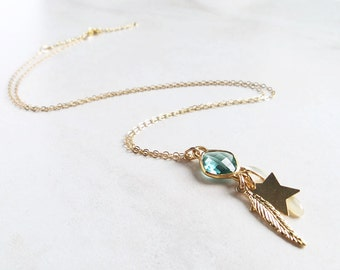 Gorgeous Necklace Bright Necklace with Crystal Bright Turquoise Gemstone Collar with Feather Necklace with Star with shell Boho style Jewel