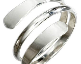 Sterling Silver Bypass Coil Wrap Adjustable Thumb Ring