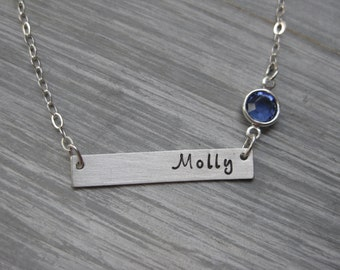 Sterling Silver Bar Necklace Birthstone Jewelry Personalized Jewelry Horizontal Bar Hand Stamped Name Necklace Teen Gift Birthday Gift