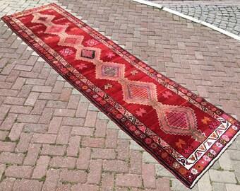 """Herki Runner rug, 133""""X36"""", Turkish runner rug, 11' runner, Red runner, hallway rug, rustic runner, pile runner, Bohemian runner, runner,"""