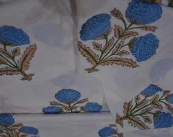 Blue Floral Block Print Fabric By The Meter