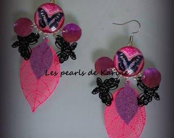 Nice pair of earrings pink and purple prints