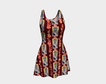 Floral Tarot Print - The Chariot - Skater Dress - Flare Dress