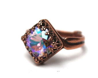 Swarovski Crystal Cocktail Ring Bold Violet AB Purple Bright Lilac Luminous Pin You Choose Finish Sparkle Adjustable One Size Fits All Fall