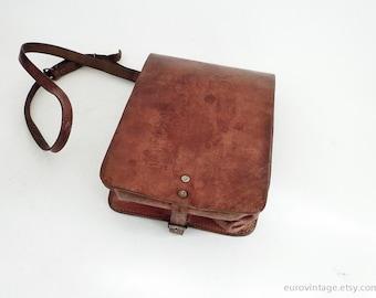 Vintage-Leder Umhängetasche Messenger Tan braun Tasche used Look der 60er Jahre