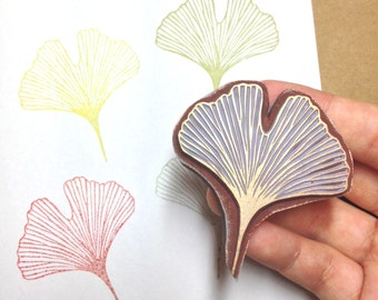 Gingko leaf stamp, handmade rubber stamp, leaf stamp, leaves stamp, diy, birthday, wedding, present, rubber stamp