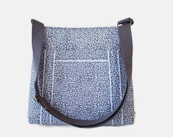 Gray Fabric Crossbody Bag Purse - Womens Handbag -  Medium Shoulder Bag - Outside Pocket - Womens Messenger Bag - Womens Purse