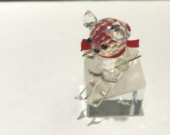 Ski Teddy bear crystal figurine