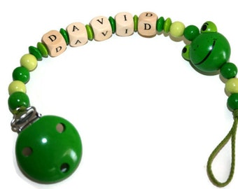 Personalized Pacifier Clip - Wooden Pacifier Holder - Name Pacifier Clip - Baby Shower Gift - Teething Clip - New Baby Gift - Soother Clip