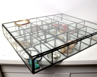 Large Clear Glass Sectioned Jewelry Box / Wedding Gift/ Clear Glass Display Box /