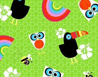 204952 green toucan owl bird bee rainbow flower fabric by StudioE 'Sunshine Day'
