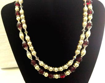 Handmade Red and White Necklace
