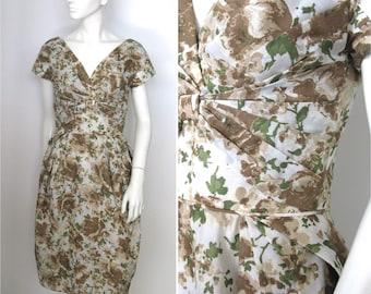 Vintage 1950s 1960s Peggy Hunt Floral Wiggle Dress XS/S