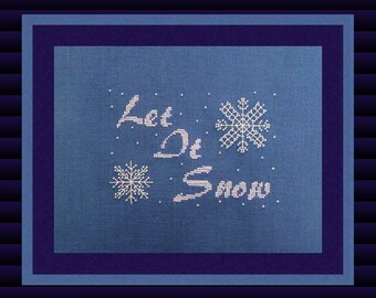 "Christmas Cross Stitch Instant Download PDF Pattern ""Let It Snow"" Winter Holiday Cross Chart. X Stitch. Counted Embroidery Beaded Snowflake"