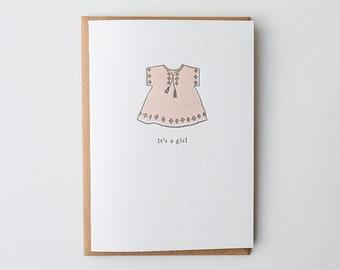 It's A Girl Letterpress Greeting Card