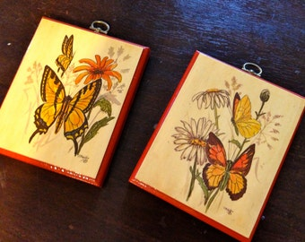Pair of butterfly picture wall art decoupage