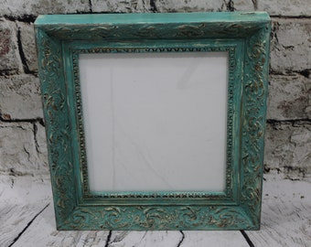 AQUA picture frame,wood/gesso photo frame,distressed frame with gold accents,wall hanging decor,country cottage decor,home decor