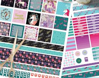Mini Happy Planner Unicorn Planner Stickers Printable, Unicorn Kit Mini Happy planner, Weekly Kit,Printable Sampler,Instant download