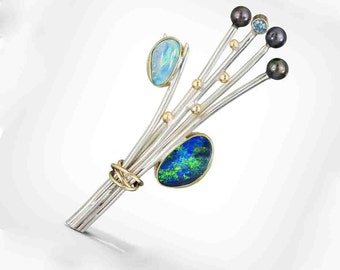 Australian Opal Brooch in Silver and Gold, Black Opal Brooch, Statement Brooch, Nature Inspired, Elegant, Gold and Silver, Made to Order