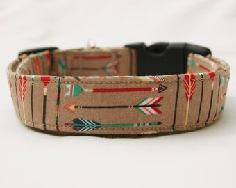 Arrows on Tan-Adjustable Dog-Pet Collar-Pet Accessories-Supplies Dog Collar-Small to Large Breed Dog-1 inch 1.5 -2 inch width