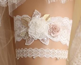 wedding garter set, bridal garter set, lace garter set, Ivory garter set, crystal garter, toss garter, rhinestone garter,handmade garter