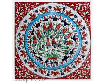 "Iznik Design Handmade Ceramic Tile Panel - 40cmX40cm/16''X16"""