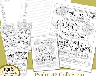 Psalm 42, Why So Downcast O My Soul, Coloring Collection, Bible Journaling Traceable, Bookmarks, Hope in Psalms, INSTANT Download Printable