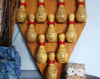 1970's  Bowling Pin Awards with Rack - SALE