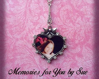 Photo Heart Pendant Necklace - Keepsake Photo Gift-Memorial Photo Jewelry-Personalized Photo-Necklace For Her-Picture Memory-Custom Photo