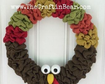 Turkey burlap wreath - Turkey wreath - Fall wreath - Fall burlap wreath - Harvest wreath - Harvest decor - Fall decor - Thanksgiving wreath