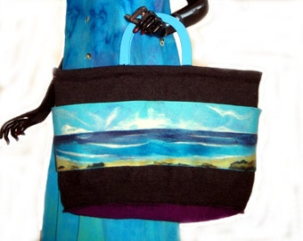 SALE  OOAK Upcycled Needle Felted Tote Bag Beach Bag with Pockets along the front
