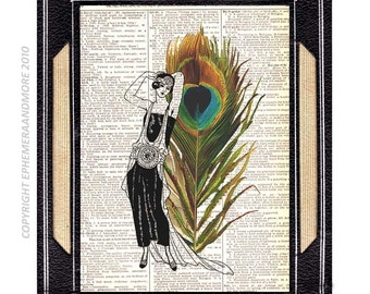 PEACOCK FEATHER art print Retro Wall Decor on upcycled vintage dictionary book page Nouveau Woman Lady green blue 8x10, 5x7