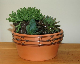 Wire Planter, Terracotta Flower Pot with Artisan Crafted Copper Wire Decorative Border, Garden Container,  Clay Pot for Herb, Flower, Cactus